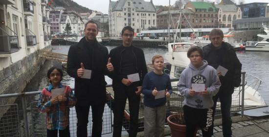 Premievinnere Ålesund Grand Prix 2016. Shazil, Odin, Sondre, Mathias, William og Erling. Sverre og Liam var dratt