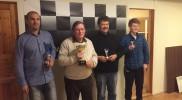 Kretsmesterskap Lynsjakk 2015. Adel (2 plass), Øyvind (Kretsmester), Tore (3. plass) og Bjørn (4. plass).